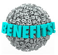 Benefits rewards compensation word d letters ball sphere in on a or illustrating the many bonuses or for a job or product purchase Royalty Free Stock Photo
