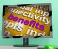 Benefits word cloud screen shows advantage reward perk showing Stock Photos