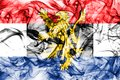 Benelux smoke flag, politico-economic union of Belgium, Netherlands, Luxembourg Royalty Free Stock Photo