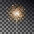 Bengal fire. New year sparkler candle isolated on black background. Realistic vector light effect. Party backdrop. Sparkler vector Royalty Free Stock Photo
