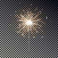 Bengal fire. New year sparkler candle isolated on transparent background. Realistic vector light eff Royalty Free Stock Photo