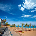 Benicasim in castellon benicassim beach at mediterranean with sea of spain Royalty Free Stock Photos