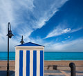Benicasim in castellon benicassim beach stripes at mediterranean house sea of spain Stock Photos