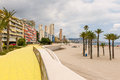 Benidorm beach promenade cloudy sky over tourist resort costa blanca spain Stock Image