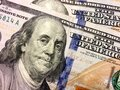 Benjamin Franklin close up engraving Royalty Free Stock Photo
