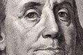 Benjamin franklin a close up portrait on us hundred dollars Stock Photo