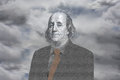 Benjamin franklin the face of from the dollar note placed on a body Stock Photos