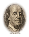 Benjamin franklin portrait of on the dollar bill money Royalty Free Stock Images