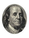 Benjamin franklin portrait from dollars banknote on white background Stock Photos