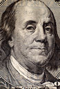 Benjamin franklin portrait on hundred american dollar bill Royalty Free Stock Photos