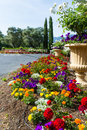 Bennett lane winery calistoga california may entrance with beautiful flowers lining the driveway may calistoga california Stock Photography