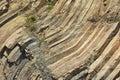 Bent hexagonal columns of volcanic origin at the hong kong global geopark in hong kong china Stock Photo