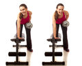Bent over row exercise studio shot white Royalty Free Stock Image