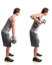 Bent over row exercise studio shot white Stock Images
