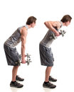 Bent over row exercise studio shot white Royalty Free Stock Photography