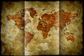 Bent paper world map on old grunge Royalty Free Stock Images