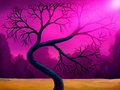 Bent Tree Digital Painting Stock Photo