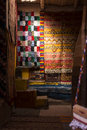 Berber carpets the inside of a moroccan shop with some colored and beautiful Stock Photos