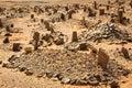Berber old cemetery on the edge of Sahara desert in Morocco. Royalty Free Stock Photo