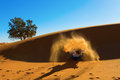 Berber playing and throwing with sands in desert sahara creating angel morocco Stock Image