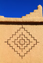 Bereber art symbols kasbah morocco ouarzazate district detail of an adobe built tower with berber geometrical unesco world Stock Photos