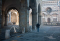 Bergamo colleoni chapel by cathedral santa maria maggiore in upper town morning fog Royalty Free Stock Photos