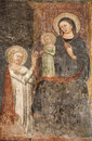 Bergamo - Giottesque medieval fresco of Virgin Mary - cathedral Royalty Free Stock Photography