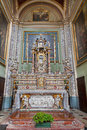 Bergamo mosaic an baroque side altar in church san alessandro della croce italy january Stock Photography