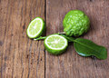 Bergamot fruit with leaf on white background Royalty Free Stock Images