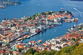 Bergen city view from hill Stock Photo