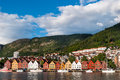 Bergen norway historical commercial buildings Royalty Free Stock Images