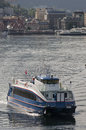 Bergen norway st june rodne fjordcruise ferry leaves be on a rare sunny day Royalty Free Stock Photography