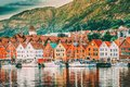 Bergen, Norway. View Of Historical Buildings Houses In Bryggen - Hanseatic Wharf In Bergen, Norway. UNESCO World Royalty Free Stock Photo