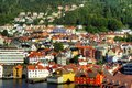 Bergen norway a view from the sea of which is a city in hordaland on the west coast of Royalty Free Stock Images