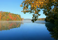 Berkshire fall foliage reflected on lake Royalty Free Stock Photo