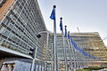 The berlaymont building anf flags brussels belgium december on december in brussels is an office and it is Stock Photo