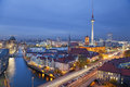 Berlin aerial view of during twilight blue hour Royalty Free Stock Photography