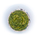 Berlin as a planet with green trees buildings an television tower Stock Photo