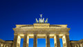 Berlin brandenburg gate frontal view of at dusk in a beautiful summer day germany europe Royalty Free Stock Photos