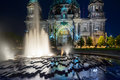 Berlin cathedral illuminated at night or berliner dom Stock Photos