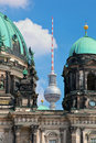 Berlin catherdral and tv tower germany Stock Image