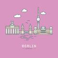 Berlin City landmarks flat vector illustration