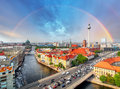 Berlin city with rainbow, Germany Royalty Free Stock Photo