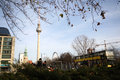 Berlin cityscape double decker and tv tower in germany Stock Photos
