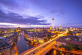 Berlin cityscape germany viewed from above the spree river Stock Images