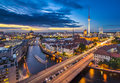 Berlin cityscape germany viewed from above the spree river Stock Photos