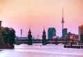 Berlin cityscape with Oberbaum bridge Royalty Free Stock Photo