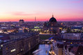 Berlin at dusk intense sunset over s rooftops Royalty Free Stock Images
