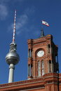 Berlin Fernsehturm and Rathaus Royalty Free Stock Image
