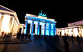 Berlin festival of lights october most important buildings are lit by colorful brandenburg gate plaza Royalty Free Stock Image